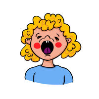 Girl showing symptoms of sneezing just before the outbreak - hand-drawn vector illustration