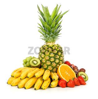 Exotic fruits isolated on white
