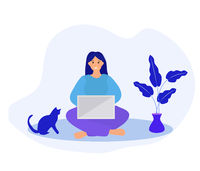 Work at home, freelance. Girl works on a laptop quarantined coronavirus. Young woman in telework self isolation. Vector illustration