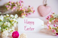 Rose Spring Flowers Decoration, Label, Heart, Text Happy Easter