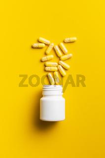 Vitamin capsules. Vitamin C pills.