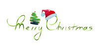 Merry Christmas watercolor background with red santa claus hat.