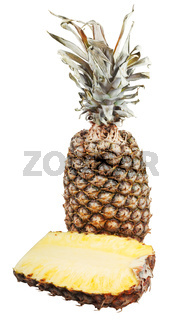 two halfs of ripe pineapple isolated on white