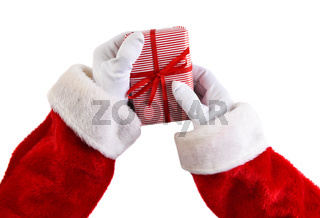 Santa Holding a small wrapped gift isolated on white. Hands only.