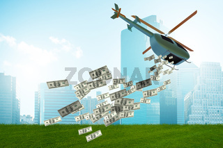 Concept of helicopter money in economic stimulation