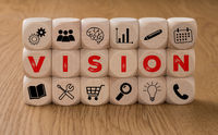 Dice with icons and the word Vision