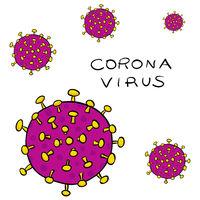 Several Viruses of Coronavirus-SARS-CoV-2 which causes Covid-19- hand-drawn vector illustration