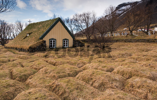 Hofskirkja  turf church at Hof in Iceland