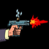 Shot from a gun comic style. Attack bullet attack