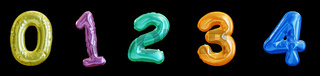 Set of colorful Balloon Numbers, Realistic 3D Rendering