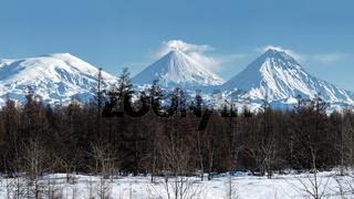 Scenery panorama winter volcano landscape of Kamchatka Peninsula
