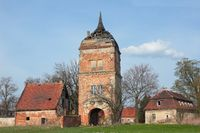 Gate to ruined old castle Biecz in Poland