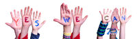 Children Hands Building Word Yes We Can, Isolated Background