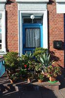 Blumen an einer Haustür