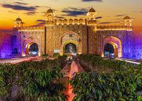 Ajmeri Gate at sunset, Jaipur, Rajasthan, India