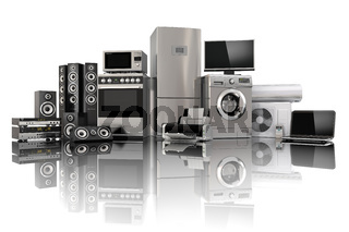 Home appliances. Gas cooker, tv cinema, refrigerator air conditioner microwave, laptop and washing machine