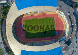 Top view of football soccer stadium