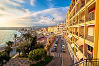 City of Nice Promenade des Anglais and waterfront aerial view