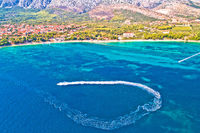 Orebic on Peljesac peninsula waterfront summer speed boat aerial view