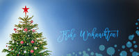 Tree With Decoration, Blue Background, Frohe Weihnachten Means Merry Christmas