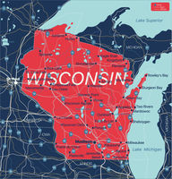 Wisconsin state detailed editable map
