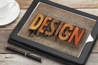 design word on digital tablet