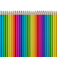 Set of color wooden pencil collection on white background