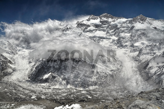 Close-up view of clouds passing over Kangchenjunga in Nepal