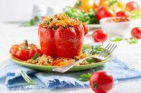 Sweet pepper stuffed with bulgur and vegetables.