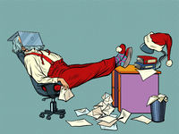 Santa Claus is tired and resting in the office for Christmas