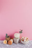 Still life with vintage crocheted table cloth