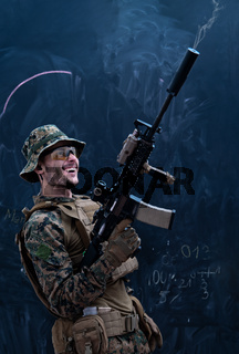 soldier firing into the air in front of black chalkboard