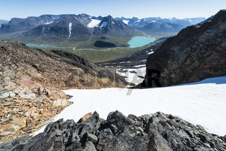 Blick zum Aehparmassiv und dem See Bierikjaure, Sarek Nationalpark, Welterbe Laponia, Lappland