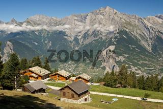 Haute-Nendaz über dem Rhonetal, Wallis, Schweiz