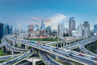 shanghai city interchange at dusk