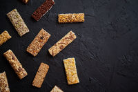 Various taste and flavour granola fitness bars concept