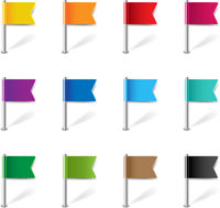 Location Pin Flags Set Isolated White Background