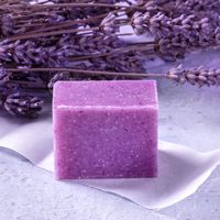 Lavender soap with dried lavender flowers, square image