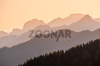 EveningDolomite mountain tops silhouettes view
