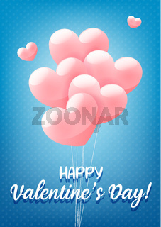 Happy Valentine's day blue congratulation banner, greeting card, invitation flyer with pink heart shaped balloons, vector illustration.