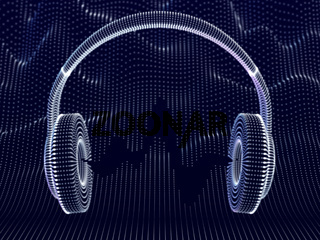 3D headphones with sound waves on dark background.
