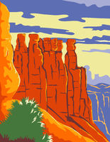 Bryce Canyon National Park in Paunsaugunt Plateau Garfield County and Kane County Utah WPA Poster Art Color