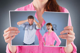 Composite image of woman arguing with ignoring man