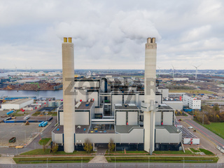 Amsterdam Westpoort, 5th of December 2020, The Netherlands. AEB waste recovery plant burning waste, industrial energy recovery proces plant.