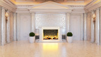 White baroque and classic interior design idea with fireplace and plant realistic 3D rendering