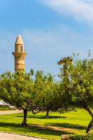 Green lawn, trees and restored minaret