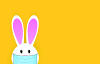 Happy easter bunny in medical mask.