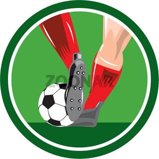 Foot Kicking Soccer Ball Retro