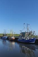 Krabbenkutter im Fischereihafen von Dorum