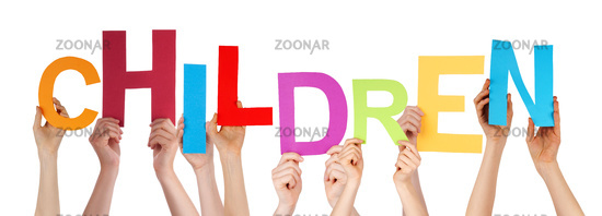 Many People Hands Holding Colorful Word Children